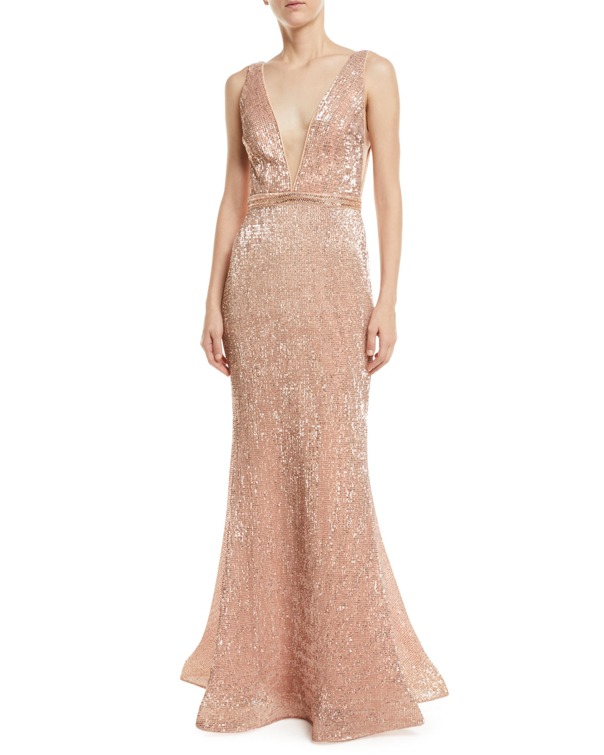 JOVANI Stretch Sequin V-Neck Gown in Pink/Gold