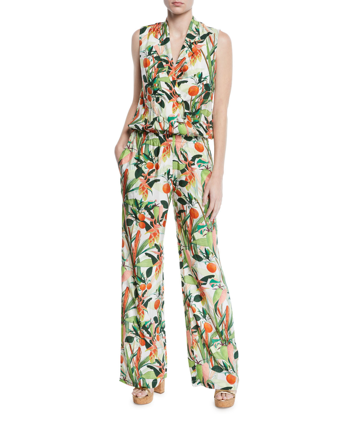 Am To Pm Botanical-Print Sleeveless Jumpsuit in Green