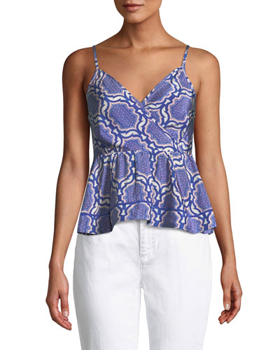 Smocked Sleeveless Printed Wrap Top