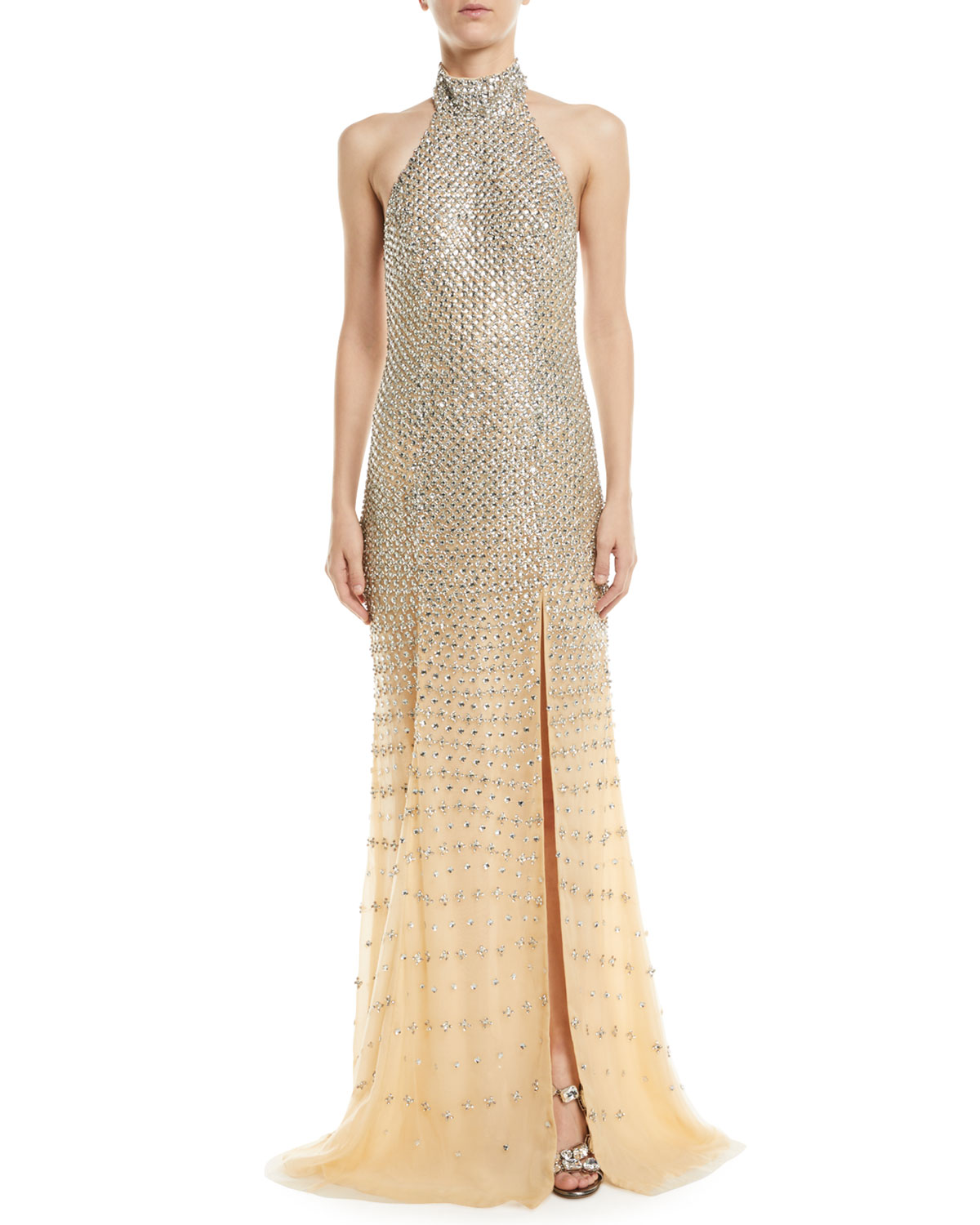 JOVANI Fully Beaded Halter Gown in Nude