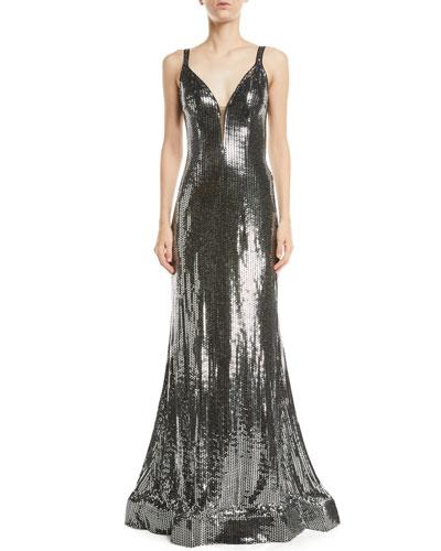 Metallic Sequin V-Neck Gown