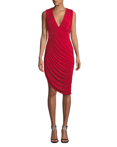 Pia Sleeveless Ruched Asymmetric Dress