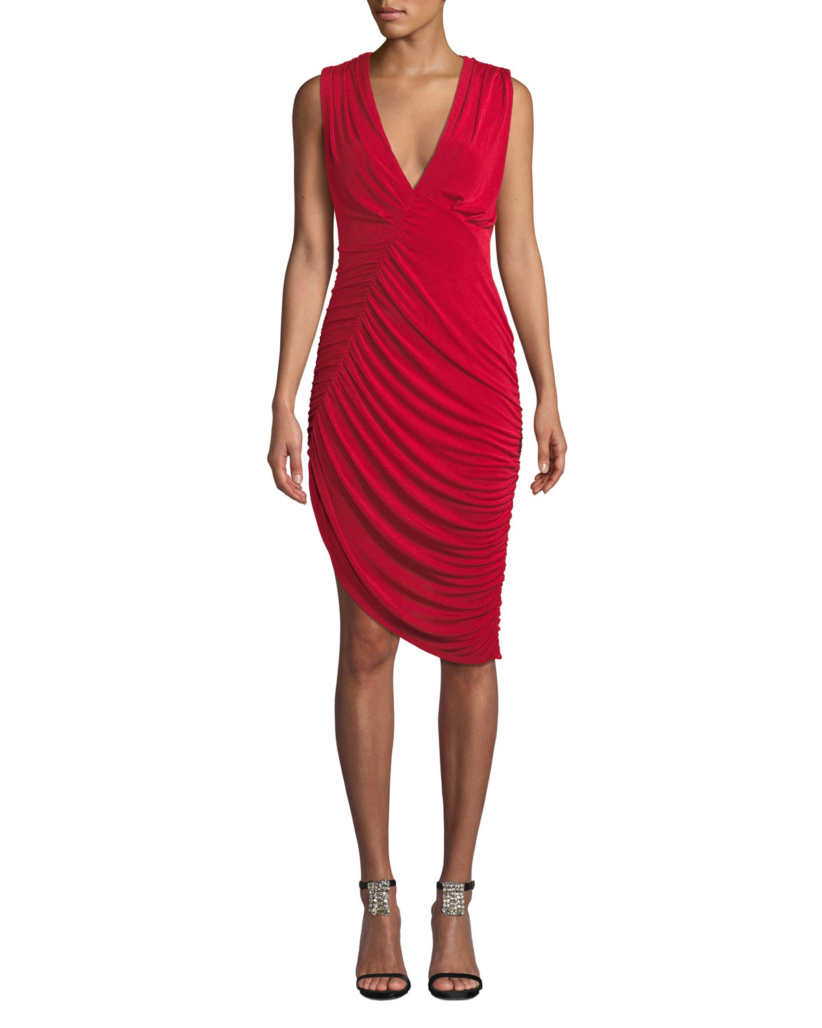 MISHA Pia Sleeveless Ruched Asymmetric Dress in Red