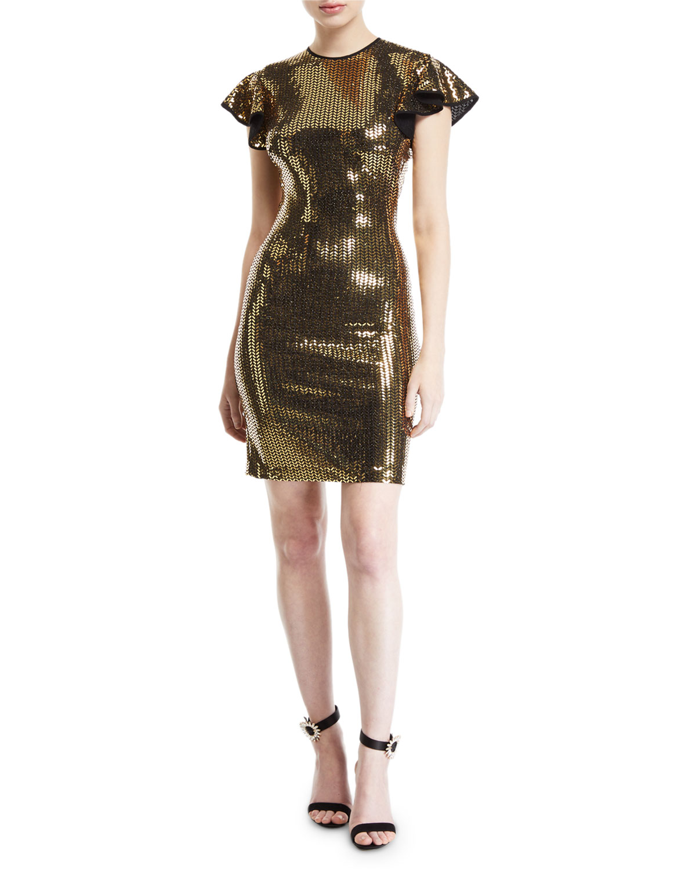 NK32 NAEEM KHAN Flutter Cap-Sleeve Open-Back Sequined Dress in Black/Gold