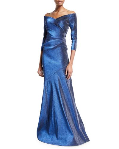 Off-the-Shoulder 3/4-Sleeve Metallic Mermaid Gown