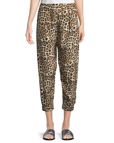Leopard-Print Silk Jogger  Pants