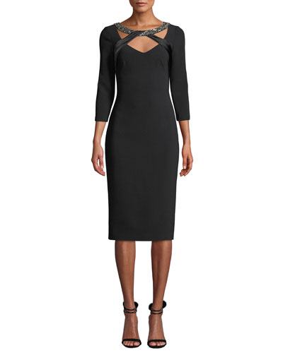 Beaded Band Illusion Neckline Crepe Cocktail Dress