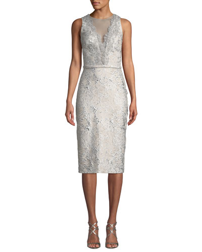 6e3986eaa5 Quick Look. Theia · Sleeveless Cloque Cocktail Dress ...