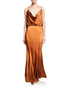 Fame and Partners The Theodora Sleeveless Cowl-Neck Satin