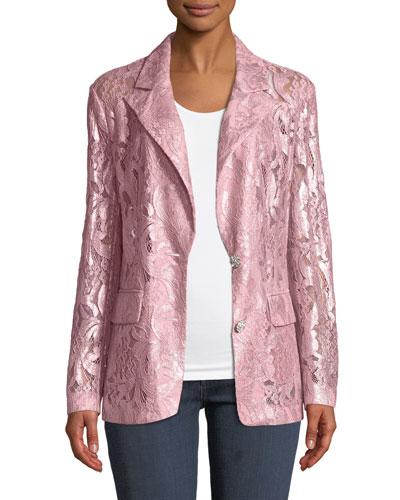 Plus Size Foil Lace Blazer
