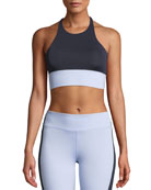 Nylora Aria Colorblock Cross-Back Performance Crop Top