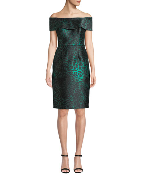 Rickie Freeman for Teri Jon Off-the-Shoulder Animal Jacquard Sheath Dress