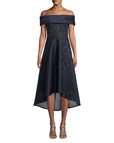 Off-the-Shoulder Embroidered Neoprene High-Low Dress