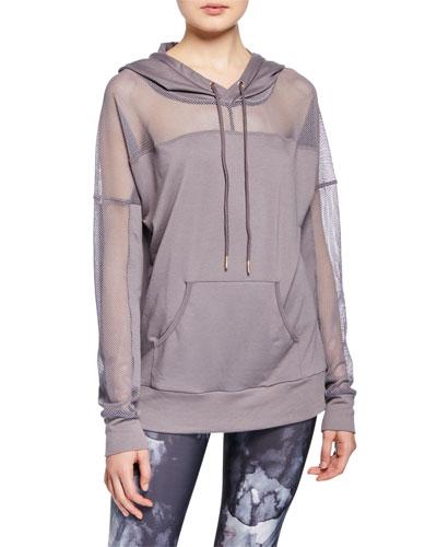 Mesh Long-Sleeve Pullover Hoodie