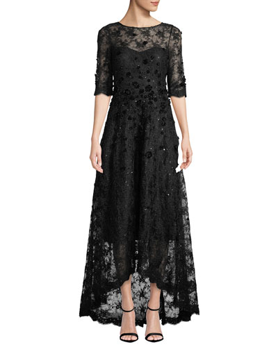 Half-Sleeve 3D-Floral Lace High-Low Dress