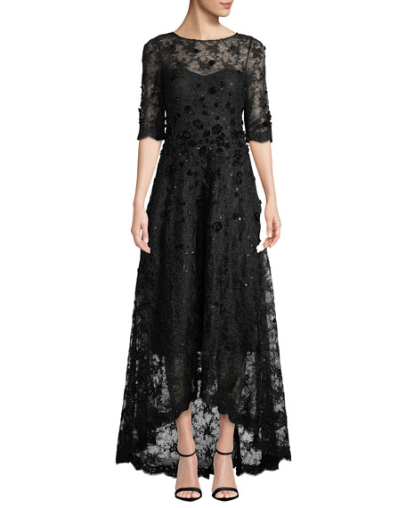 Rickie Freeman for Teri Jon Half-Sleeve 3D-Floral Lace High-Low Dress