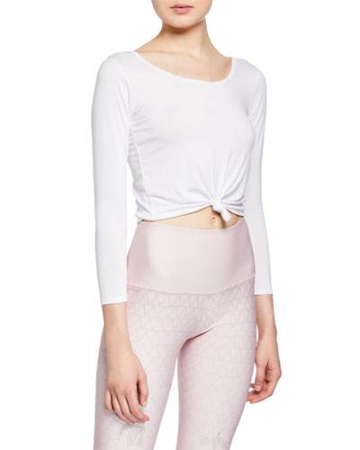 Scoop-Neck 3/4-Sleeve Knot Crop Top