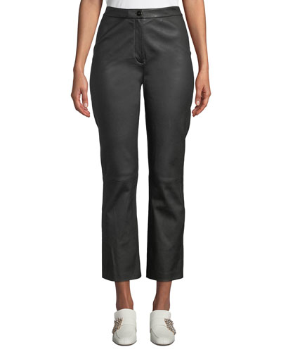 Stretch Leather Cropped Flared Pants