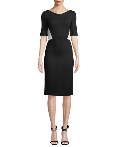 V-Neck Half-Sleeve Pique Milano Knit Sheath Dress