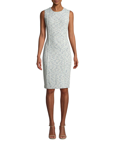 St. John Collection Alessandra Sleeveless Tweed Dress with Back Slit