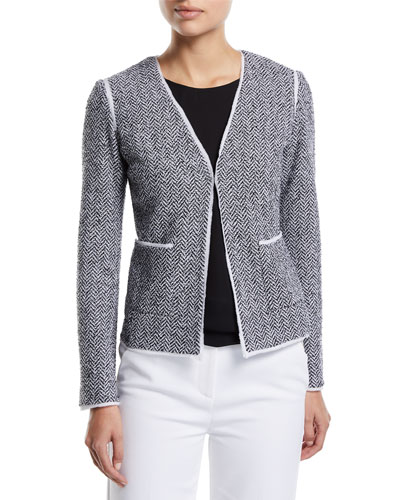Abby V-Neck Chevron Knit Jacket