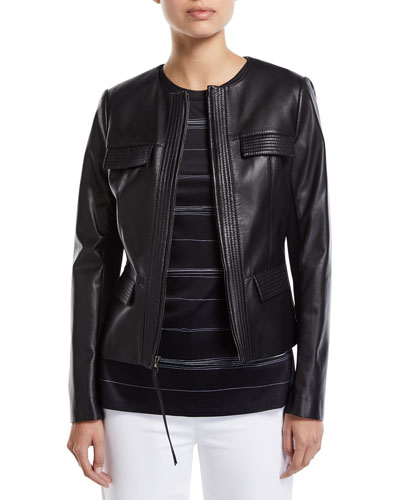 4ba8956d5 Fitted Cropped Leather Jacket | Neiman Marcus