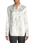 St. John Collection Floral-Print Button-Down High-Low Silk