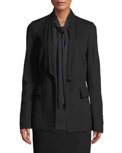 Paneled Wool-Blend Pique Jacket