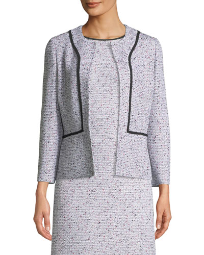 Alicia Tweed Jacket w/ Silk Georgette Piping