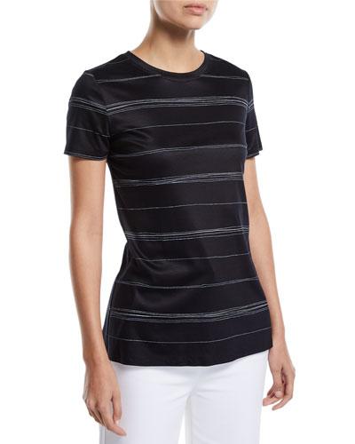 Wavy Stripe-Print Short-Sleeve Interlock Jersey T-Shirt
