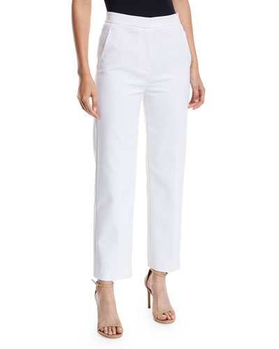 4f824349373 White Stretch Cotton Ankle Pants