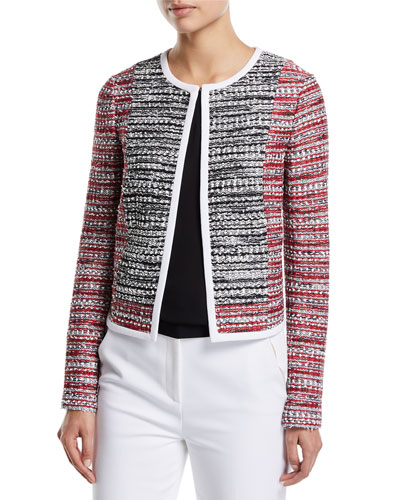 Amelia Knit Tweed Jacket with Contrast Binding