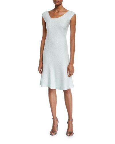 Links Sequin Asymmetric-Neck Cap-Sleeve Dress