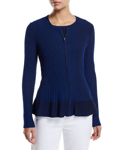 Charlotte Zip-Up Fit-and-Flare Cardigan