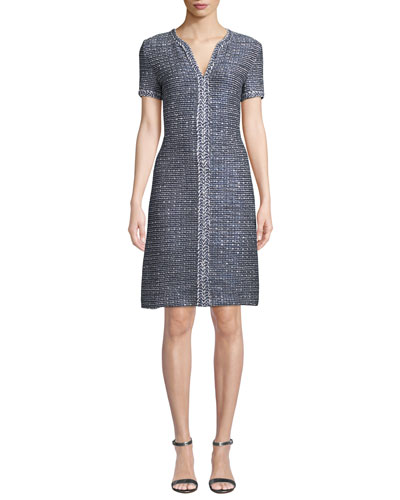 Camille V-Neck Short-Sleeve A-Line Dress with Braided Trim