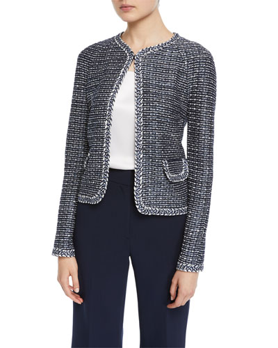 Camille Braided-Trim Tweed Jacket