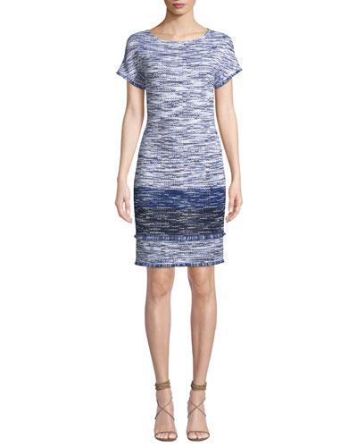 Boat-Neck Short-Sleeve Multi-Tweed Dress with Fringe
