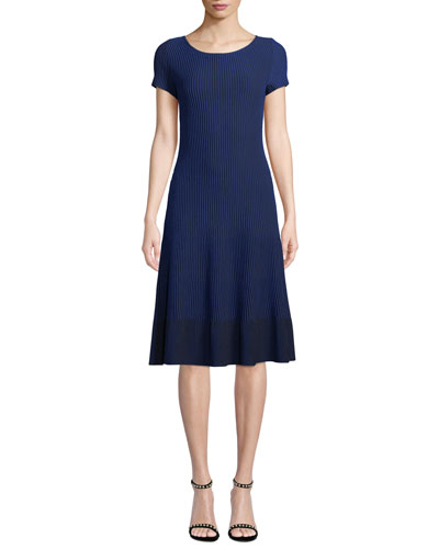 Charlotte Scoop-Neck Short-Sleeve Rib-Knit Dress
