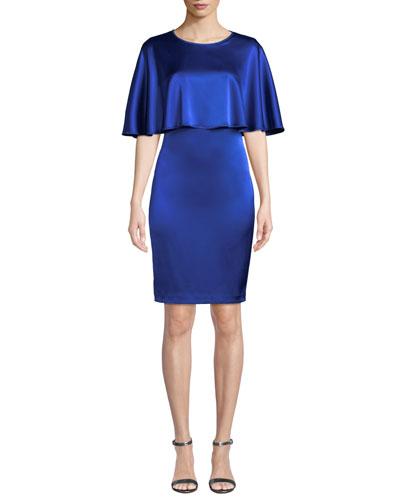 Jewel-Neck Liquid Satin Dress with Cape