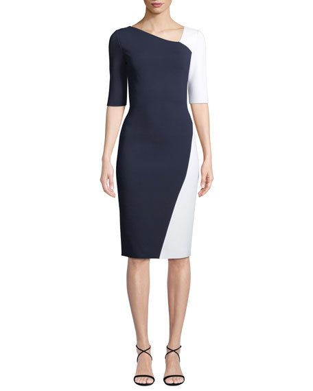 St. John Collection Colorblock Sculpture Knit Body-Con Dress