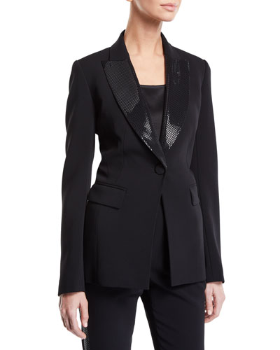 Sequined-Lapel Button-Front Stretch Cady Jacket