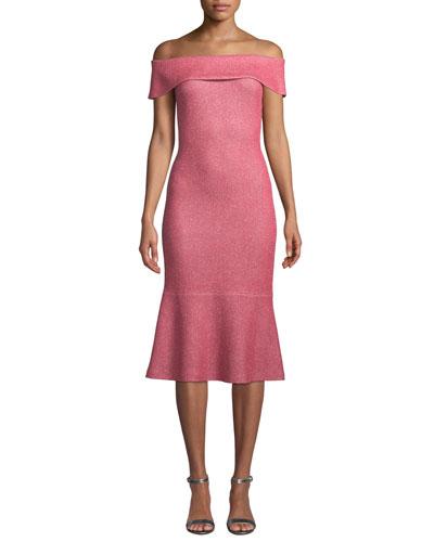 Links Sequin-Knit Off-the-Shoulder Flounce Dress
