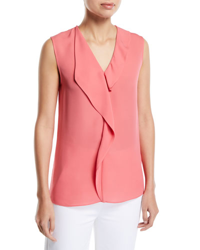 ebea9eecb8ddff Quick Look. St. John Collection · Georgette Satin Silk Draped Sleeveless  Blouse
