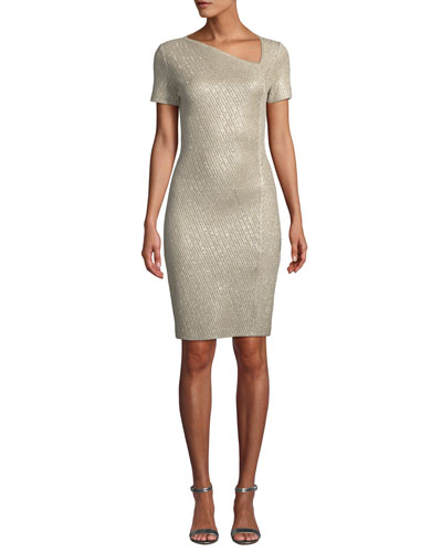 Brielle Sequin Asymmetric-Neck Short-Sleeve Dress