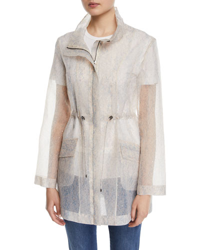 Sequined Transparent Organza Utility Jacket
