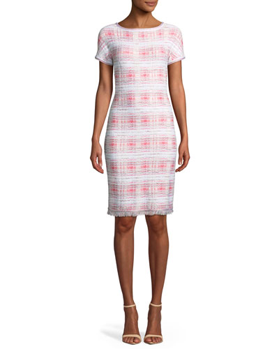 Becca Short-Sleeve Tweed Dress with Fringe Trim