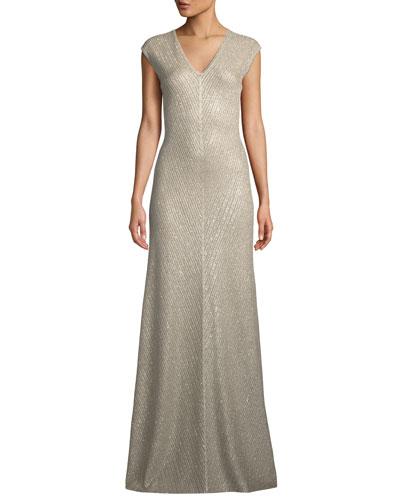 Brielle Sequin V-Neck Cap-Sleeve Knit Gown