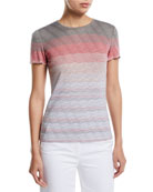 St. John Collection Brisa Short-Sleeve Multicolor Striped Tee