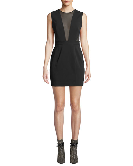 Jay Godfrey Mesh-Detail Mini Cocktail Dress