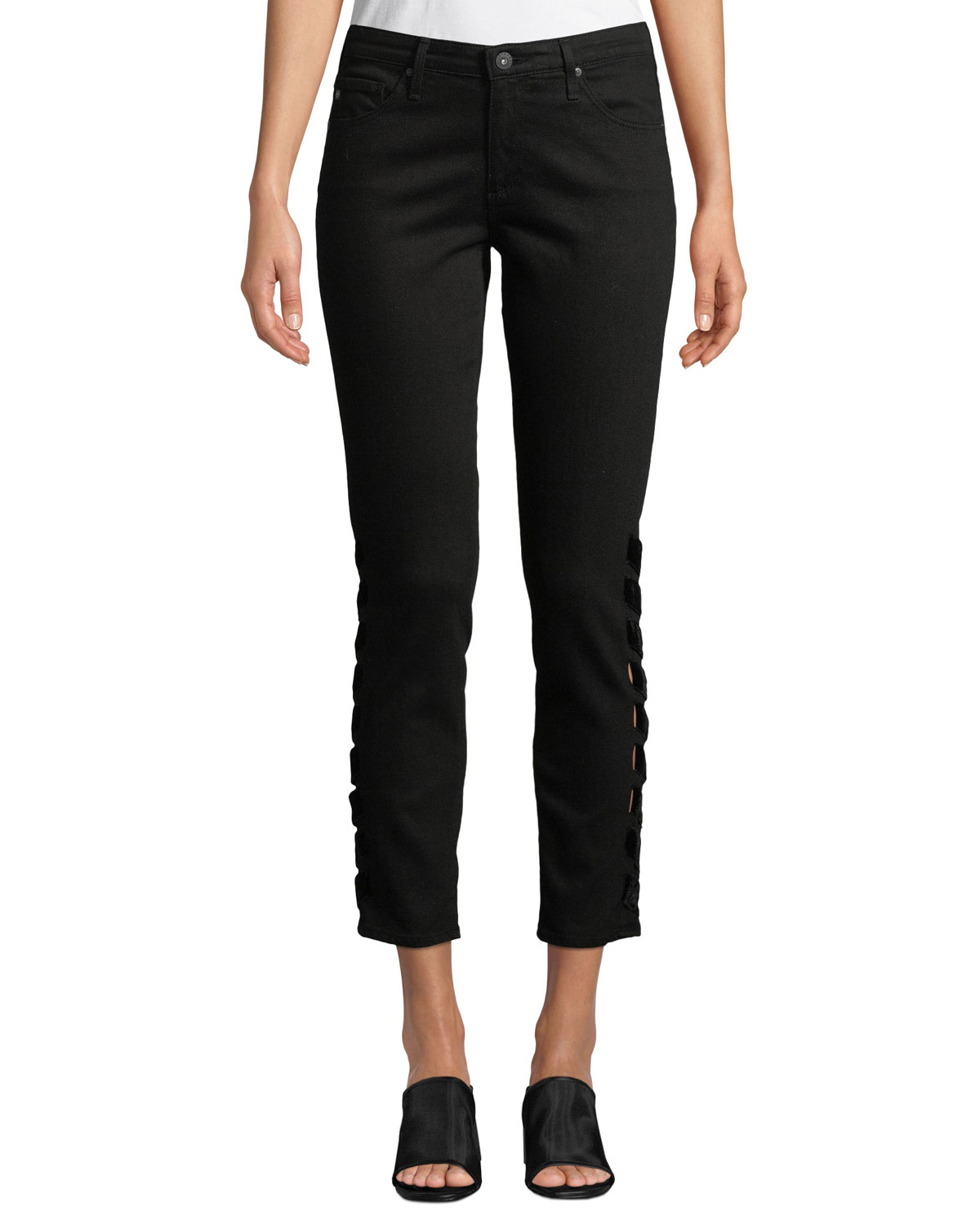 AG The Prima Cropped Mid-Rise Jeans With Intertwined Sides in Super Black